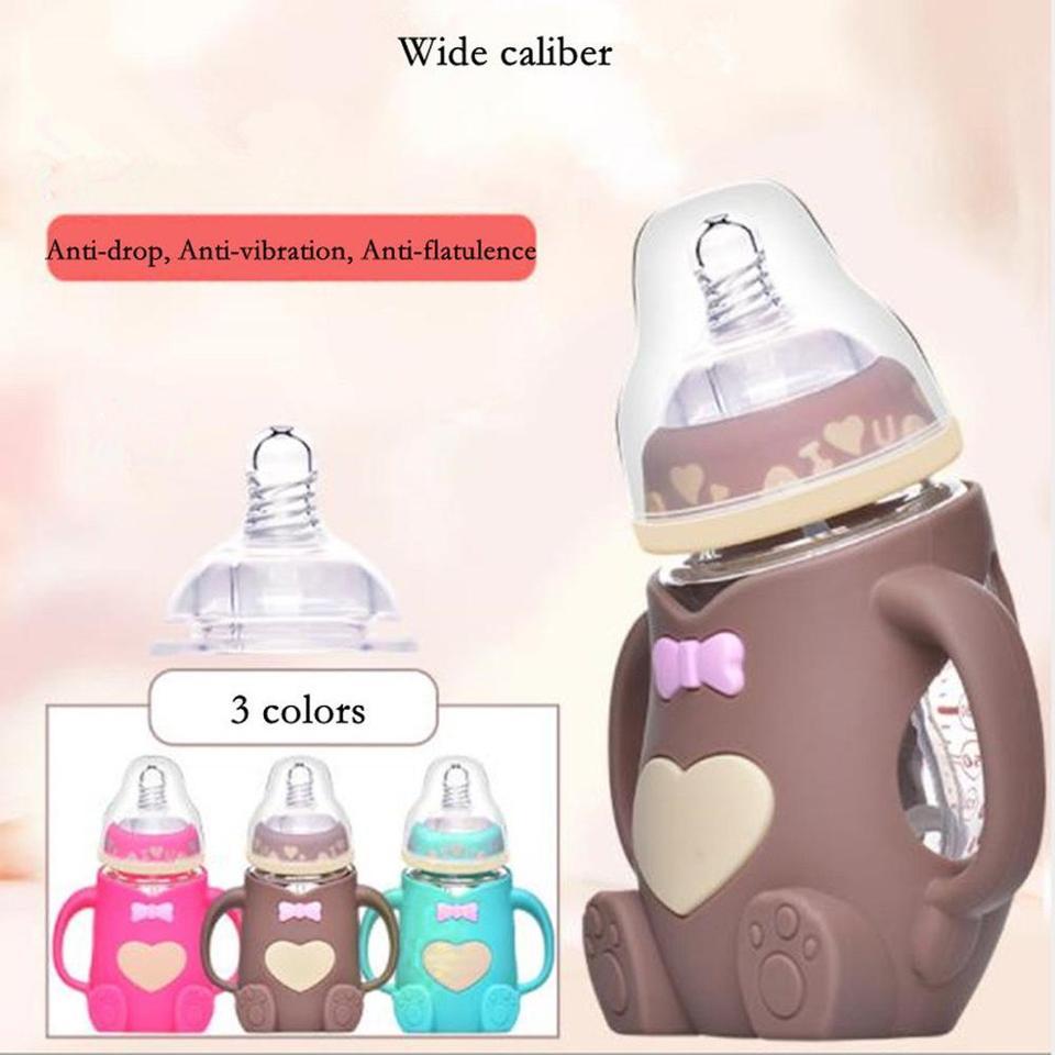 Hand Cartoon Container Infant Baby Cute Feeding Glass Bottle Safe Silicone Milk Bottle Feeding Bottle Baby Bottle Accessories Bottles Aliexpress