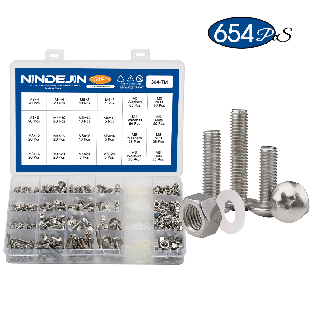 654pcs Cross recessed truss mushroom head machine screw with nut and nylon washer stainless steel m3 m4 m5 m6 machine screw kitScrews   -