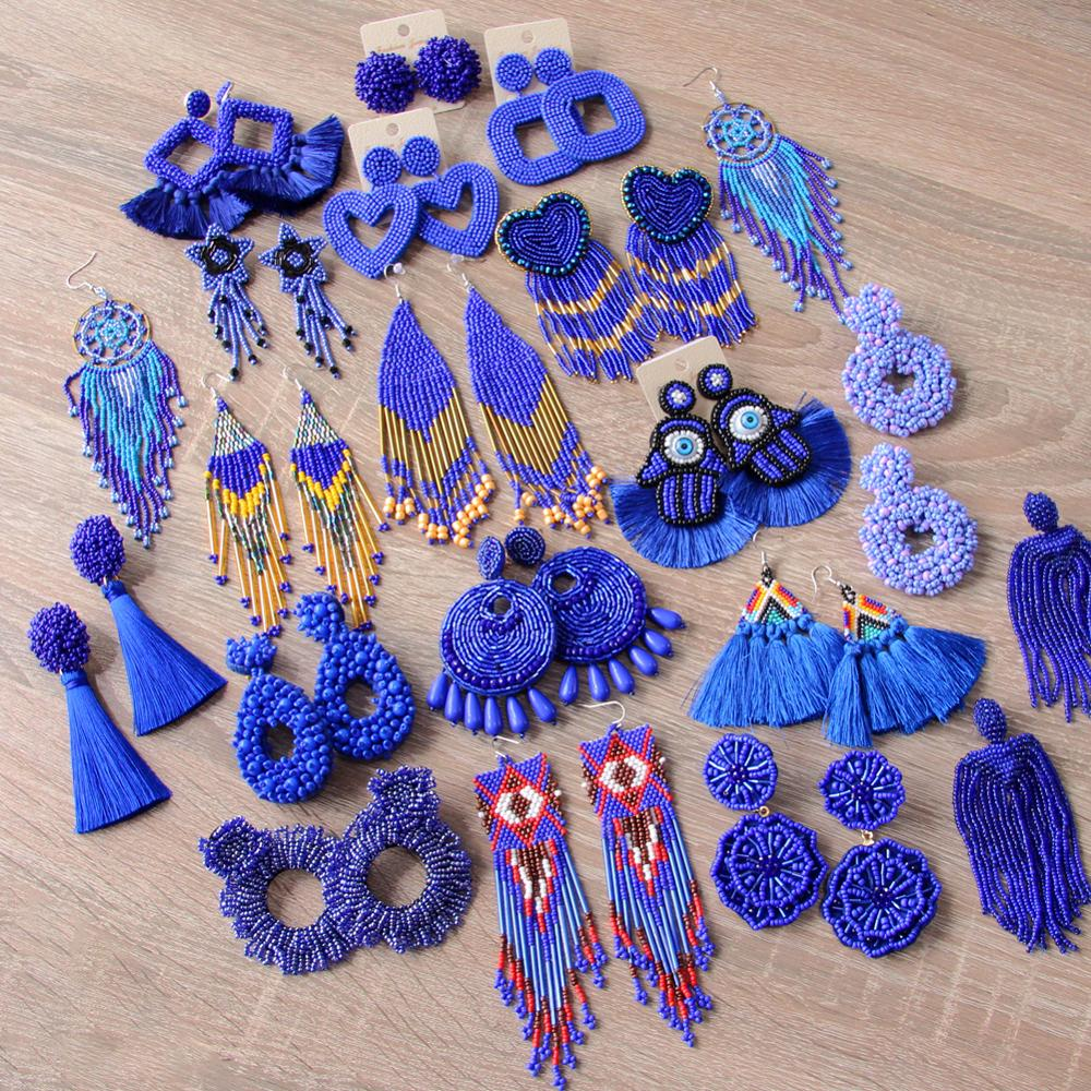ROYALBEIER Large Tassel Earrings Bohemia Handmade Blue Beads Earrings Wedding Drop Earrings Party Gift Women Statement Jewelry