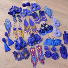 ROYALBEIER grand gland boucles d'oreilles bohême à la main bleu perles boucles d'oreilles de mariage boucles d'oreilles goutte cadeau de fête femmes déclaration bijoux