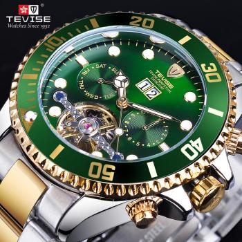 TEVISE Green Dial Golden Stainless Steel Mens Business Sport Design Luxury Tourbillion Men Automatic Wrist Watch Top Brand