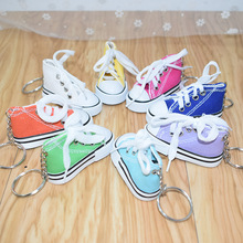 2019 Mini Canvas shoes Sneaker Tennis Shoe Keychain Women Blue Pink Black White Sports Shoes Keyring Key chain for childrens g