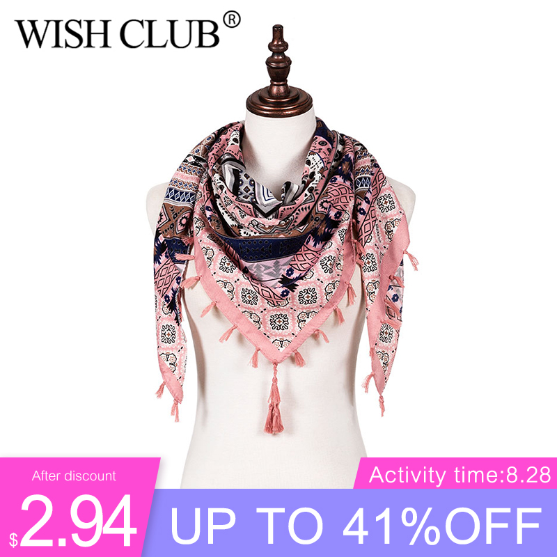 2019 Fashion Women Scarf Large Shawls Floral Print Ethnic Triangle Tassel Warm Winter Scarf Female Luxury Brand Kerchief Scarves