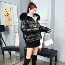 YICIYA Natural fox fur collar womens 2019 winter jacket female loose short down white thick warm