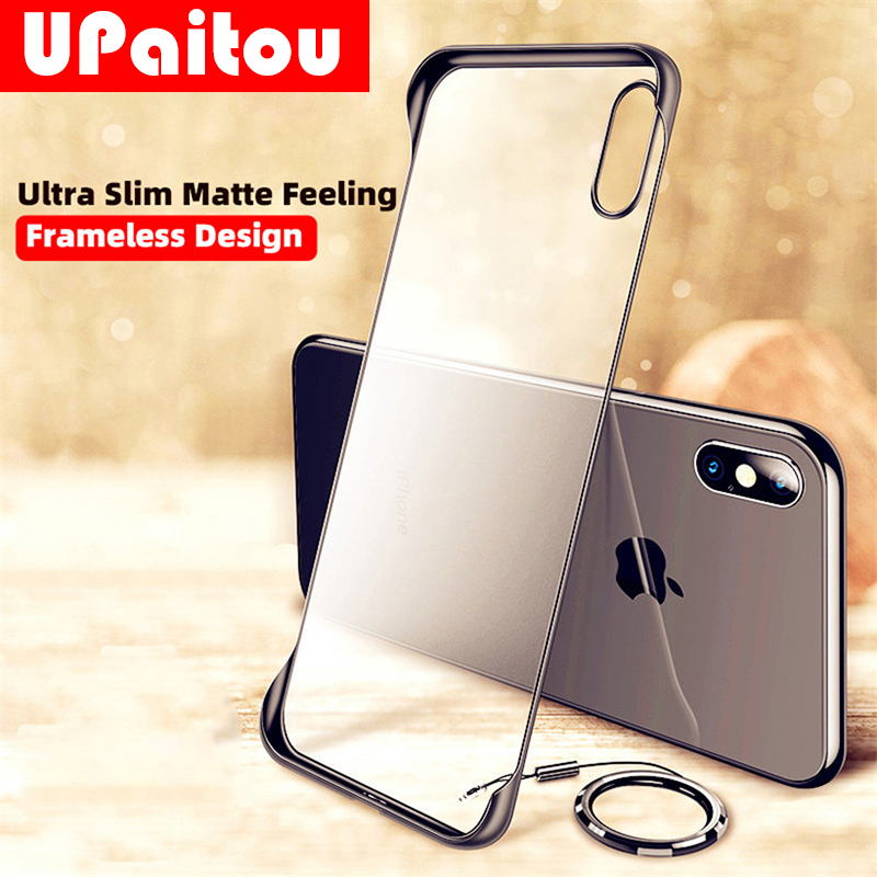 Frameless Matte Hard PC <font><b>Case</b></font> For <font><b>VIVO</b></font> A9 A5 2020 A7 A5S AX5 A3S Y17 <font><b>Y15</b></font> Y12 Y3 IQOO Neo Ultra Thin Ring Cover <font><b>Case</b></font> & Strap image