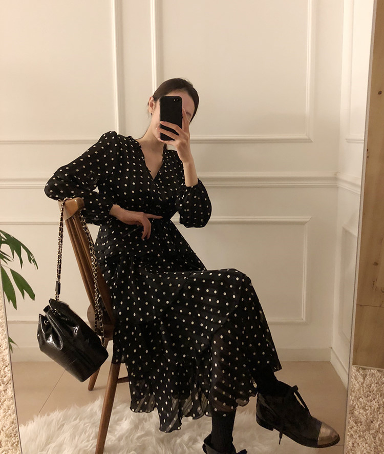 H898a8e4292c74b5e8ff9c7e164f94023e - Autumn V-Neck Long Sleeves Satin Polka Dots Multi-Layers Midi Dress