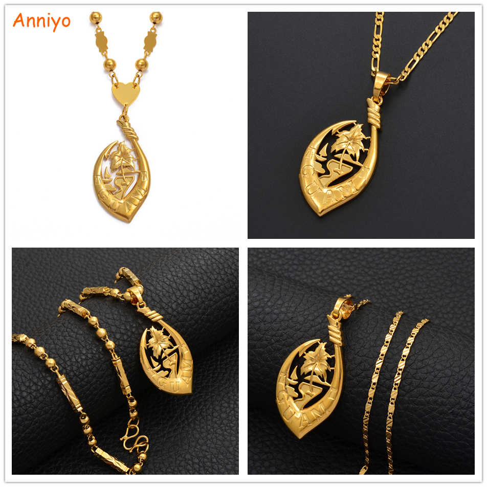 Anniyo Guam Pendant Necklaces for Women Men Gold Color Micronesia Guam Ethnic Jewelry Party Gift #215206