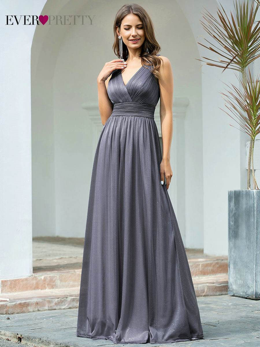 Evening-Dresses Party-Gown Sparkle Robe-De-Soiree Ever Pretty Sexy Sleeveless V-Neck