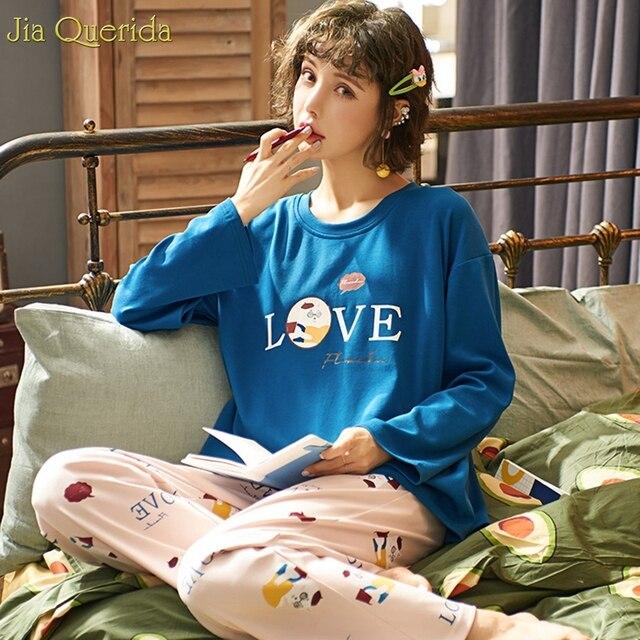 Pijamas de outono feminino conjunto de pijamas de lazer das mulheres ternos de algodão em casa usar tamanho solto estudante menina roupa de casa nova pijamas mujer