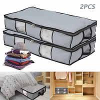 Cajas de almacenamiento para cama, organizador de ropa gruesa y transpirable, con cremallera, 2 uds., plegable debajo de las bolsas para cama