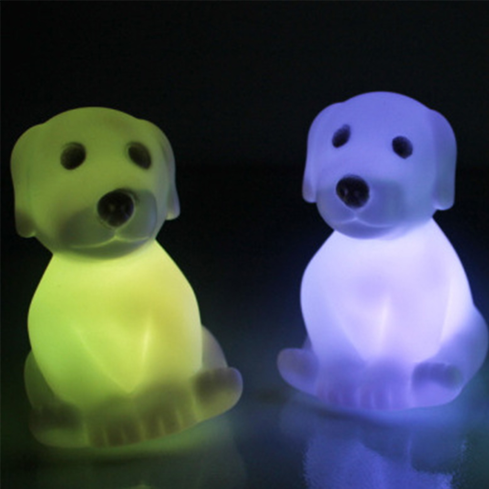 New High Quality Colorful LED Night Light Children Kids Bedroom Table Lamp Dog Shaped Night Lightings