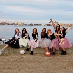 Image 3 - 5 שכבות טול חצאית נשים קיץ כדור שמלת Midi חצאיות נקבה גבוהה מותן טוטו קפלים Faldas לנשים בית ספר שמש נהיגה לראשונה חצאית