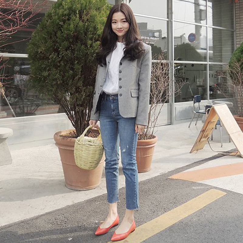2018 Spring High-waisted Pencil Pants Micro Trumpet Jeans WOMEN'S Ninth Pants South Korea Slim Fit Slimming Frayed Bell-bottom P