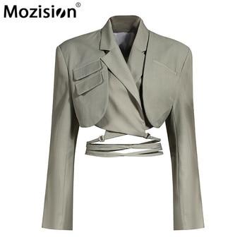 MOZISION Irregular Elegant Blazer For Women Notched Long Sleeves Lace Up Bowknot Blazers Female 2021 Spring Fashion New Coat 1