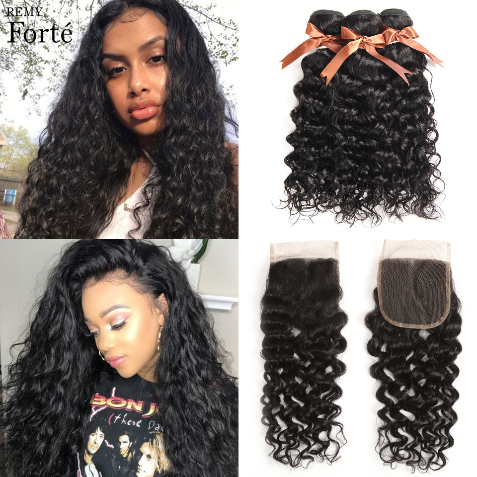 Remy Forte Water Wave Bundles With Closure 30 Inch Bundles With Closure  Brazilian Hair Weave Bundles 3/4 Bundles With Closure