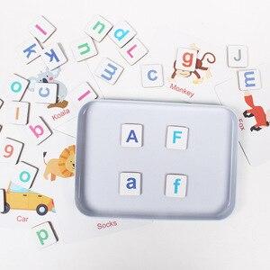 Image 2 - 60 desen hayvanlar büyü alfabe bulmacalar manyetik yapboz öğrenme ingilizce oyuncak ahşap çocuk bulmaca oyuncak seti çocuk eğitim oyuncak
