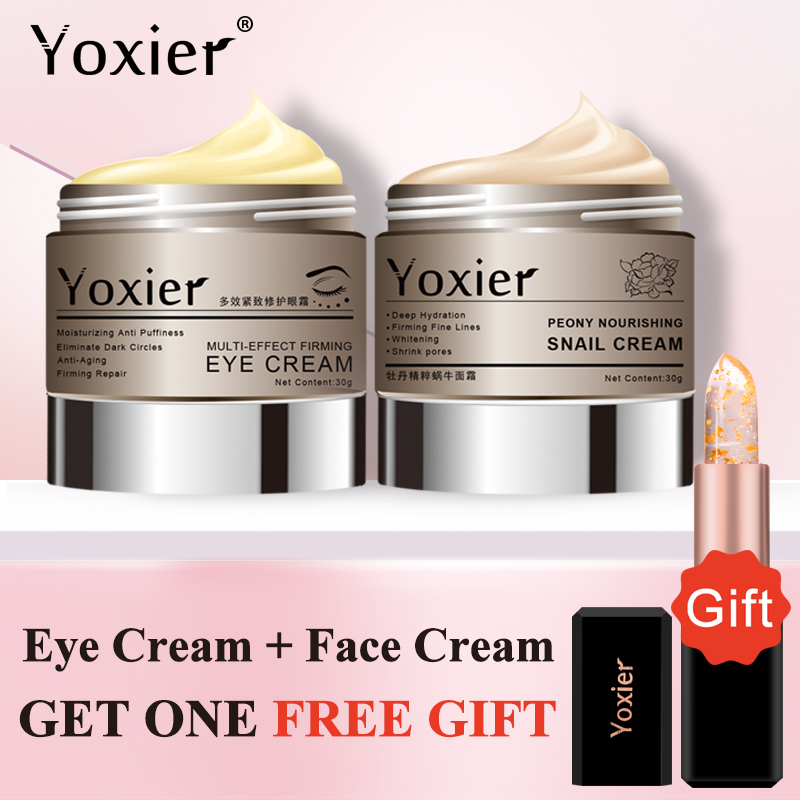 Buy 2 Get 1 Gift Yoxier Snail Face Cream Eye Cream Moisturizing Lifting Firming Fine Lines Remove Eye Bag Skin Care Case Set