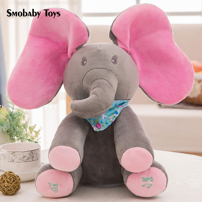 35cm Cute Hide And Seek Elephant Stuffed Toy Smart Elephant Dog Electric Baby Plush Doll Music Interactive Model For Child Gift