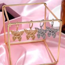 Женские серьги бабочки flatfoosie модные подвески золотого и