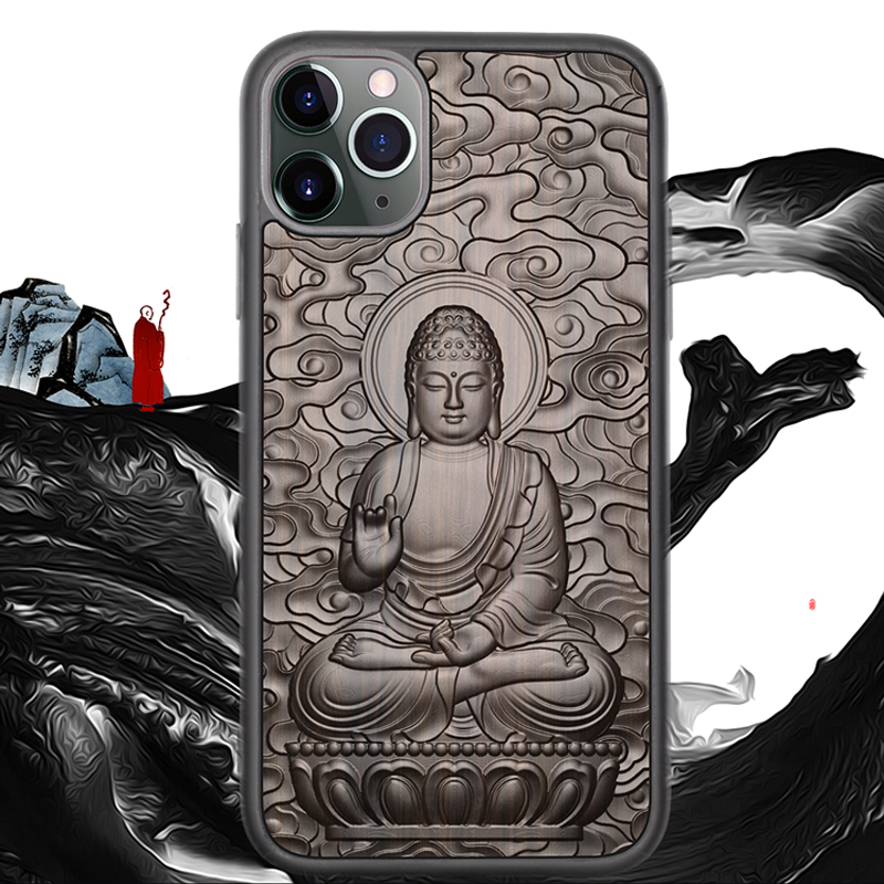 3D Relief Embossed Wolf Tiger Fish Sandalwood Case for iPhone 12