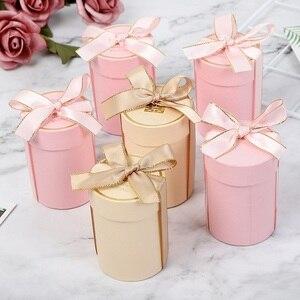 Nowe pudełko czekoladek Cylinder ślub dobrodziejstw i pudełka na prezenty do dekoracji ślubnych prezent na Baby Shower torby zaopatrzenie firm