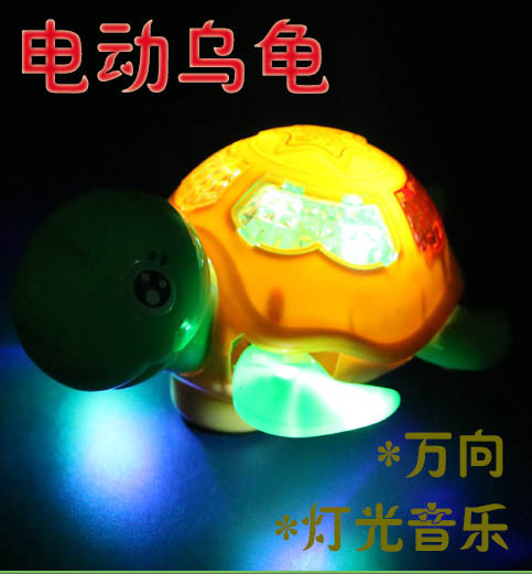 556 Model Electric Universal Little Turtle Music Shining Crawling CHILDREN'S Toy Kids Gift Booth Goods Hot Selling