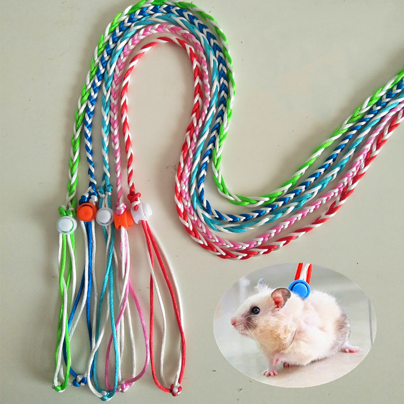 1.4m 2m Adjustable Pet Hamster Leash Harness Rope Gerbil Cotton Rope Harness Lead Collar For Rat Mouse Hamster Pet Cage Leash