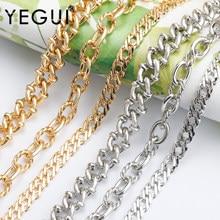 Yegui c150, corrente diy, ródio chapeado, 18k banhado a ouro, 0.3 mícrons, metal de cobre, encantos, diy pulseira colar, fazer jóias, 1 m/lote