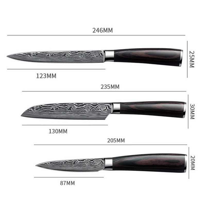3.5 ''/5 นิ้วมีดเชฟญี่ปุ่นสแตนเลสดามัสกัสภาพวาดมีด Professional SHARP Blade เนื้อมีดเครื่องมือทำอาหารของขวัญ