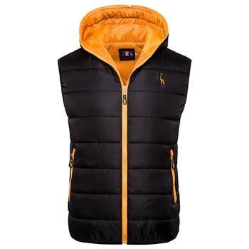 2019 New Giraffe Brand Winter Jacket Men Hoodied Vest Men Zipper Mens Jacket Sleeveless Casual Winter Waistcoat Men