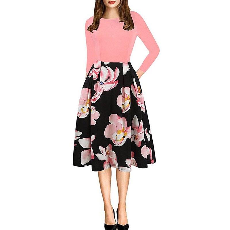 2019 женское весеннее платье с цветочным принтом, повседневное простое летнее длинное платье с 34 рукавами для женщин, модные свободные вечерние платья - 3