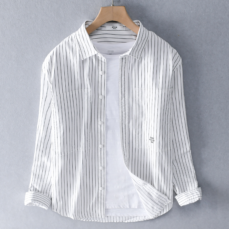 2020 Long Sleeve Casual Cotton Shirt Men Brand Japanese Style Retro Trend Shirts For Men Striped Shirt Mens Chemsie Camisa