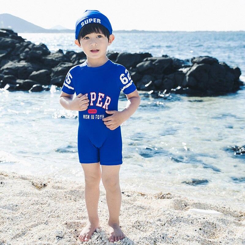 2019 BOY'S Swimsuit Childrenswear New Style One-piece Swimwear KID'S Swimwear Boy Baby Short Sleeve Tour Bathing Suit Send Hat