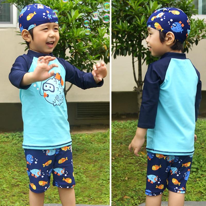 Bathing Suit Children Korean-style Boy Cute Comfortable Fashion Piece Split Type Tour Bathing Suit Boxer Sun-resistant Swimsuit
