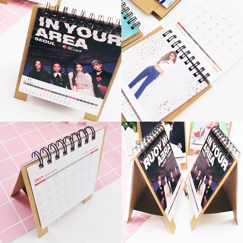 Novelty Kpop Fashion Fashion BLACKPINK 2019 Desktop Calendar Photo Picture Stationery Calendar