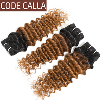Code Calla Brazilian Deep Wave Remy Hair Bundles 6A Grade 100% Human Hair Weaving Extensions Ombre Color Bundles 8Inch 26Inch