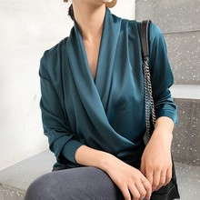 Solid Color Womens Shirt Spring Autumn Office Commuting Tops and Blouses Vintage French Style Fashion Women 2019