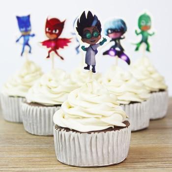 24Pcs Jungle Safari Cupcake Picks Animal Cake Toppers Cartoon Cupcake Inserts Card Party Gifts for Kids Birthday Wedding Decor