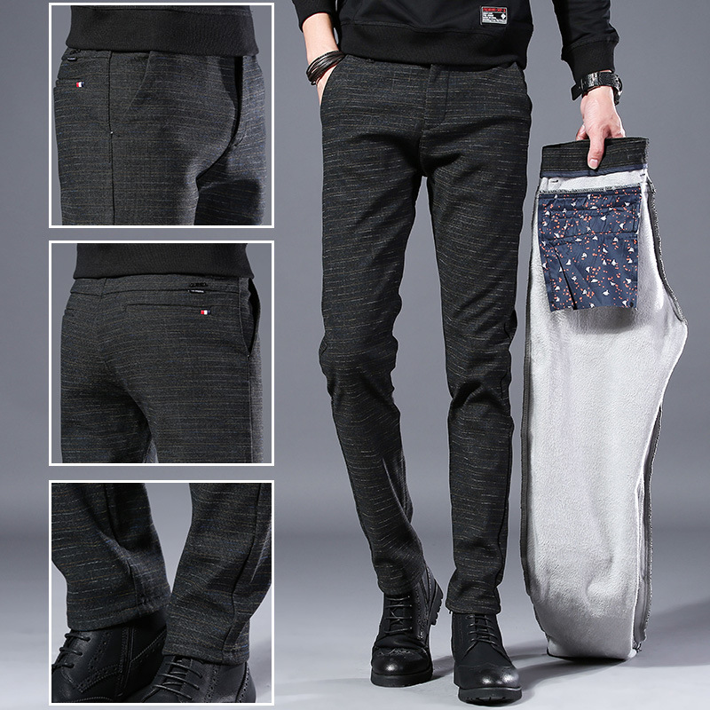 Autumn New Style Pants Men's Casual Pants Korean-style Trend Skinny Trousers Youth Slim Fit Cotton Pants Plus Velvet Warm-keepin
