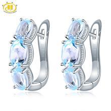 Hutang 925 Silver Hoop Earrings for Women, 1.48ct Blue Topaz Gemstone Earrings Classical Elegant Fine Sterling Silver Jewelry