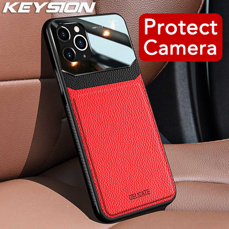 KEYSION Shockproof Case voor iPhone 11 Pro Max PU Lederen Spiegel Gehard Glas Telefoon Back Cover Voor iPhone 7 8 plus 6S XR XS Max