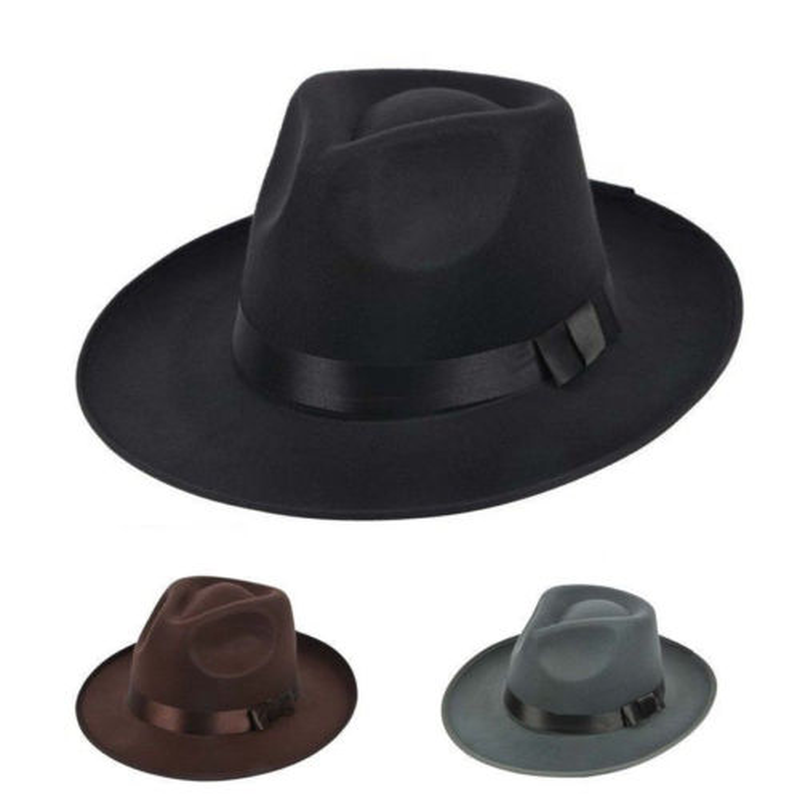 Men Women Thick Wool Vintage Felt Fedora Wide Brim Bowler Cap Black Gray <font><b>Cowboy</b></font> <font><b>Hat</b></font> Black Grey <font><b>Unisex</b></font> <font><b>Hats</b></font> image