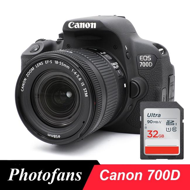 Câmera digital canon 700d/rebel t5i dslr com lente 18-55mm-18 mp-vídeo completo hd 1080p-tela sensível ao toque vari-angle (novo)