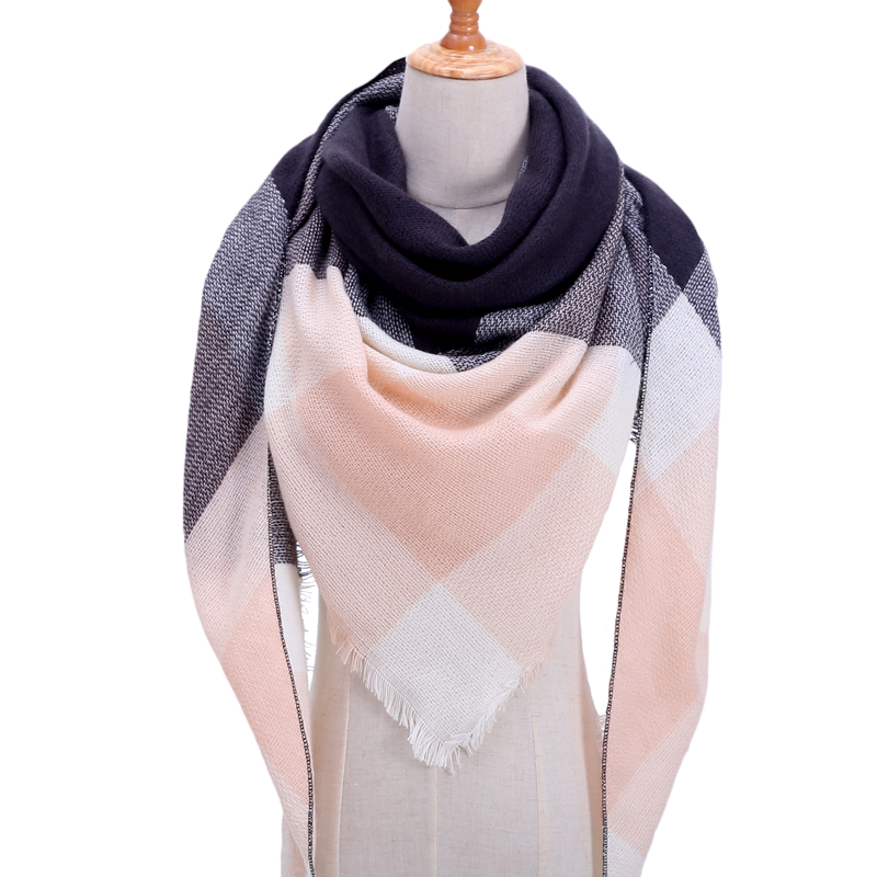 2020 Women Scarf Fashion Plaid Cashmere Scarves Lady Winter Shawls And Wraps Bandana Female Knitted Foulard Triangle Neck Scarfs