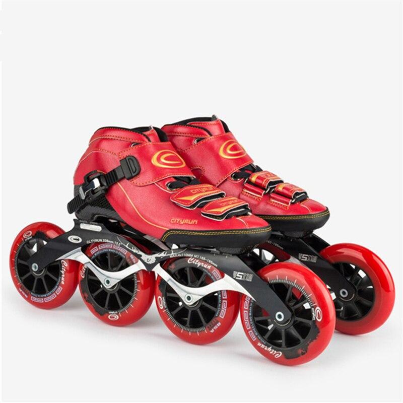 Fibre de carbone vitesse patins chaussures noir rouge bleu surface 85A roues alliage CNC base de patinage fait main femme femme CITYRUN patines
