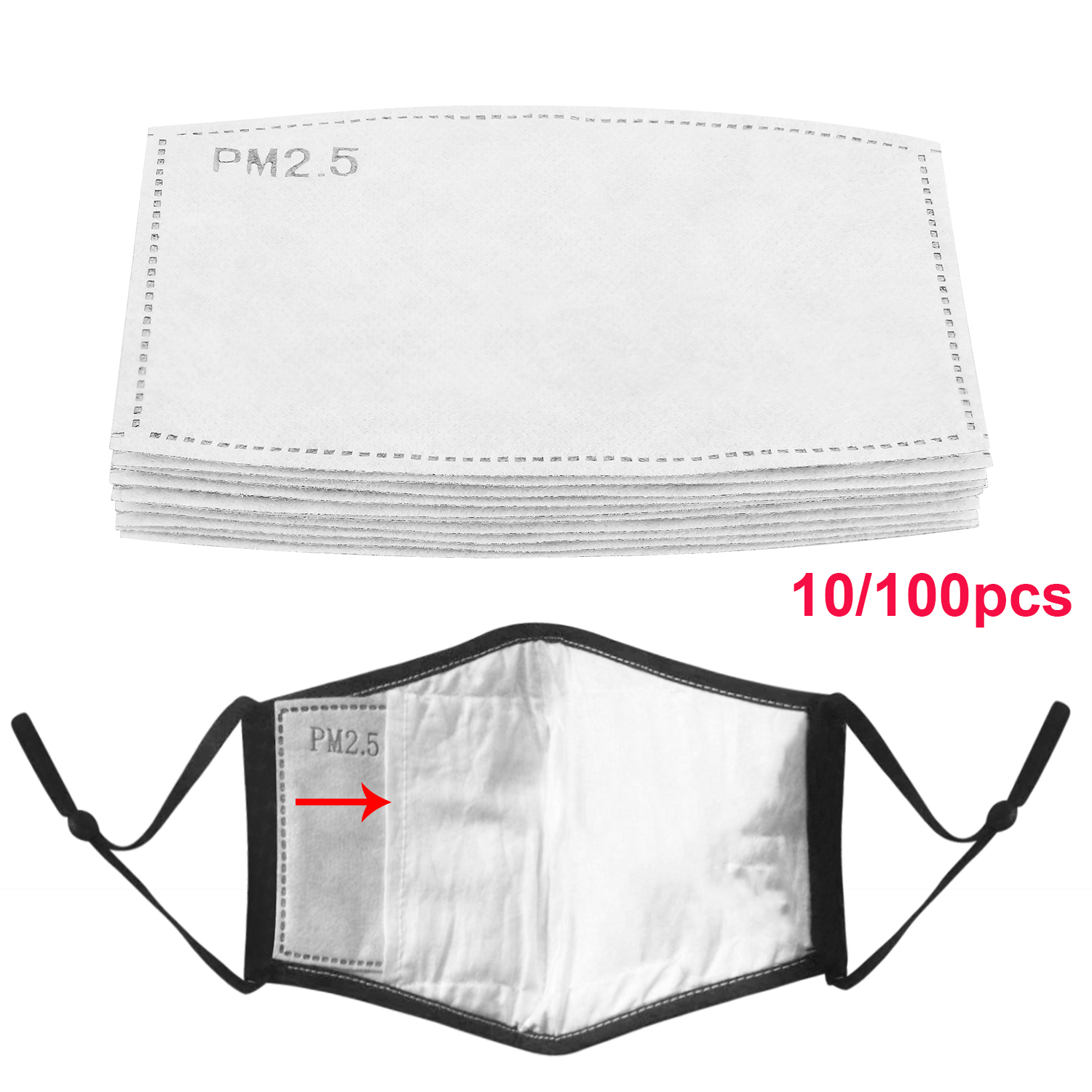 10/20/50/100Pcs Anti Dust Droplets Mask Filter Replaceables Insert For PM2.5  Paper Haze Mouth Mask  100pcs Filters