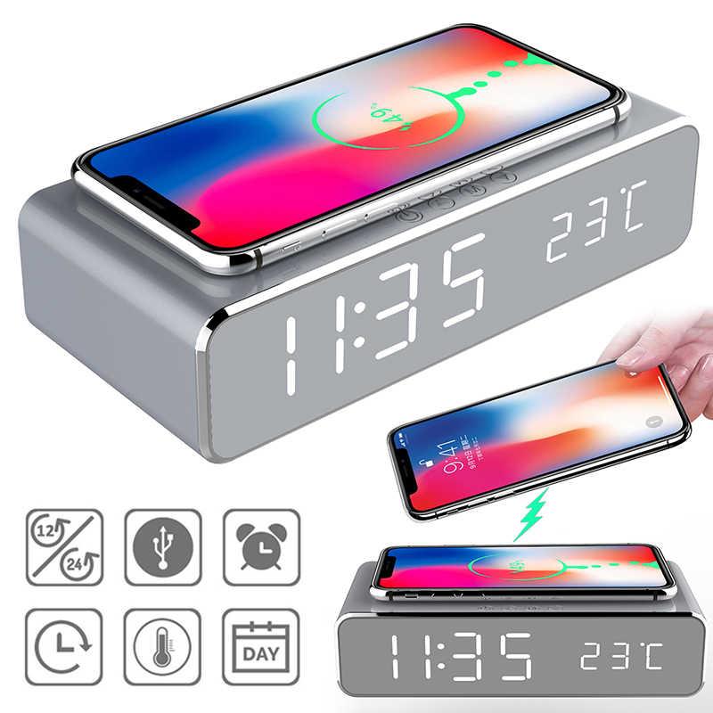 Drahtlose Handy Ladegerät Led Elektrische Wecker Desktop Digital Thermometer Neue Desktop Multi-Funktion Spiegel Wecker