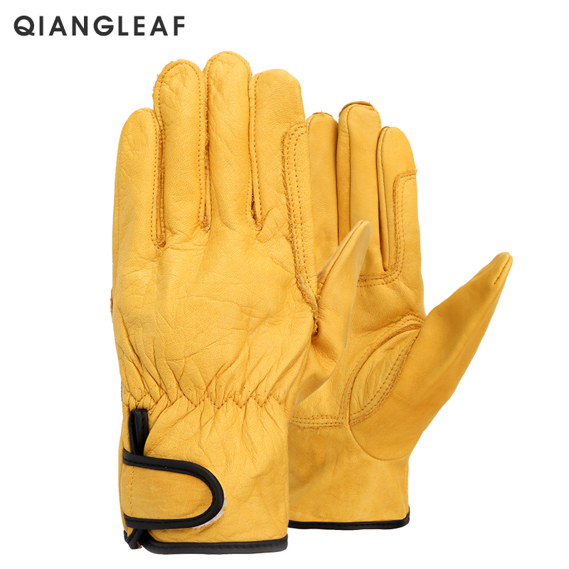 QIANGLEAF Brand New Free Shipping Protection Glove D Grade Pigskin Yellow Ultrathin Leather Safety Work Gloves Wholesale 527NP