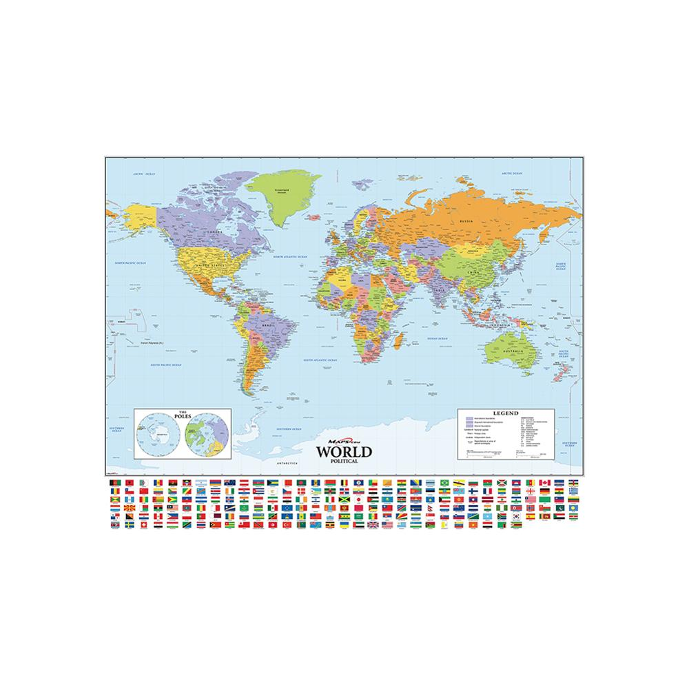 150x100cm The World Political Hammer Projection Map With National Flags For Culture And Travel