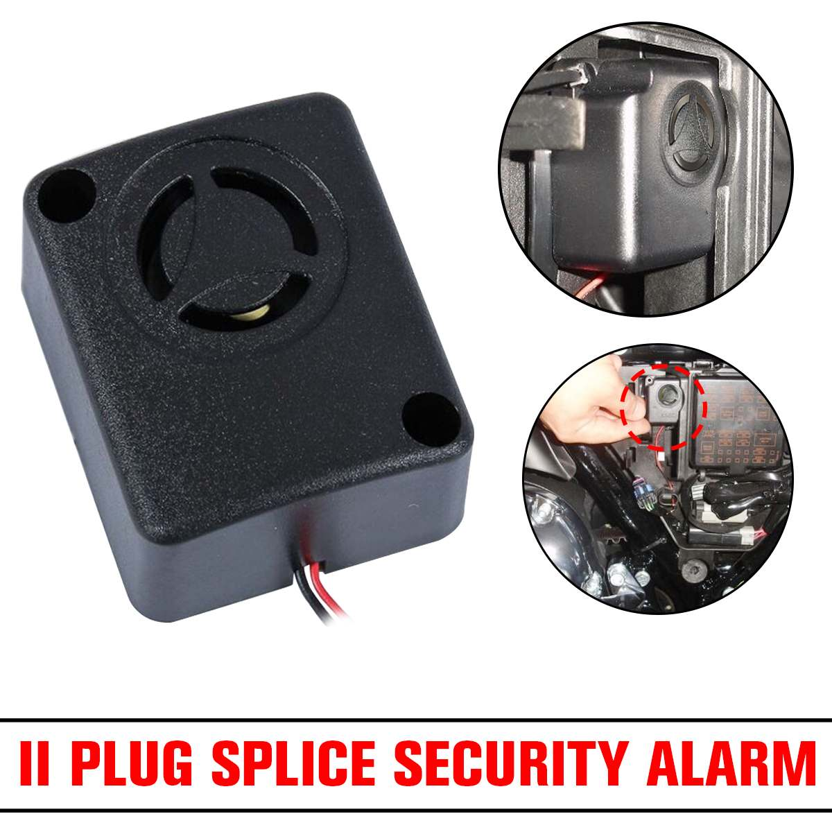 1pcs Mini 120dB Alarm Motorcycle Alarm Piezo Wired Rohs 12V Black Continuous Sound Alarm